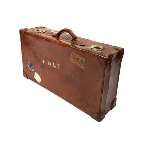 Antique Leather Gentleman's Travel Bag / Suitcase / Trunk with Travel Stickers